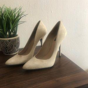 ALL SAINTS camel suede heels
